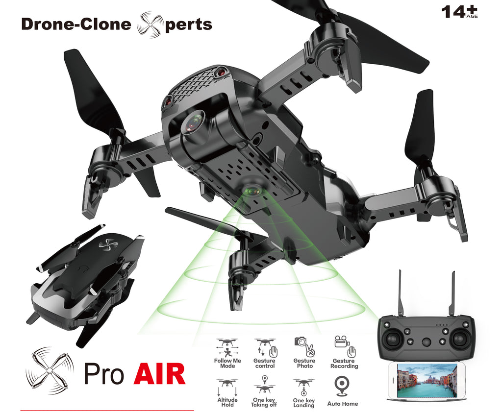 Drone X Pro AIR - 1080P HD Dual Camera WIFI FPV 20min Flight Follow Me Gesture Control (2 Batteries)