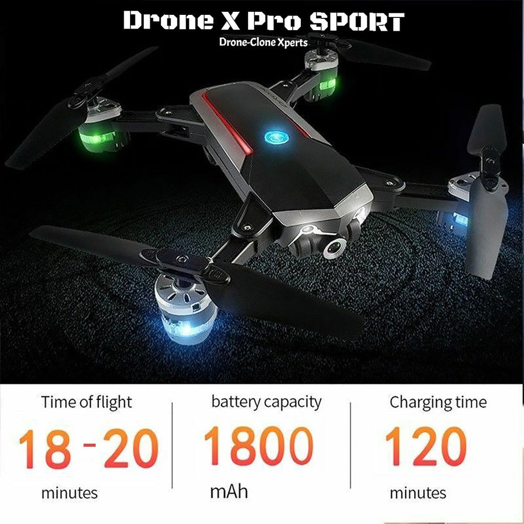 Drone X Pro SPORT- 1080P HD Camera WIFI FPV 20min Flight Time Optical Flow Real-Time Transition (2 Batteries)