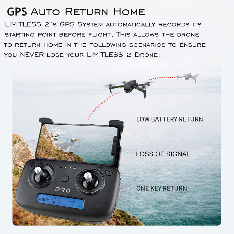Drone X Pro LIMITLESS 2 GPS 4K UHD 5G WiFi Dual Camera FPV Live Video Follow Me 25min Battery RTH