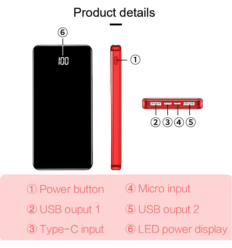 10,000mAh High Capacity Power Bank with Digital Display and Super Slim Design for Portable Charging