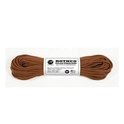 Nylon Paracord Type III 550 LB 100FT - Chocolate Brown