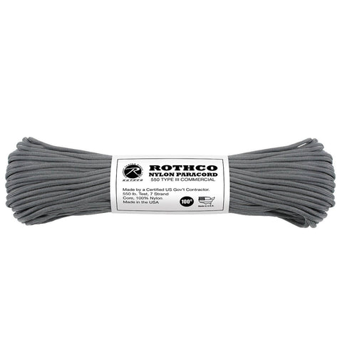 Nylon Paracord Type III 550 LB 100FT - Charcoal Grey