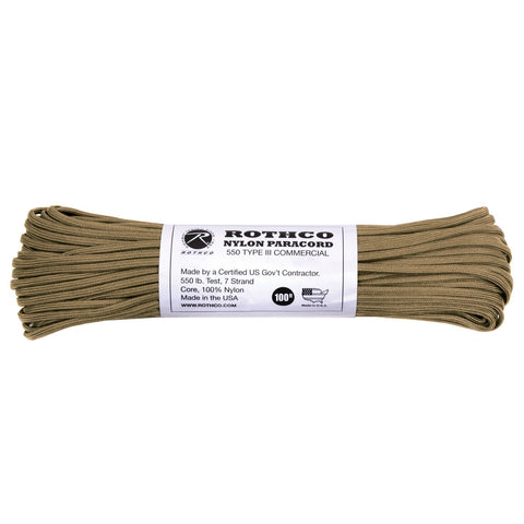 Nylon Paracord Type III 550 LB 100FT - Coyote Brown
