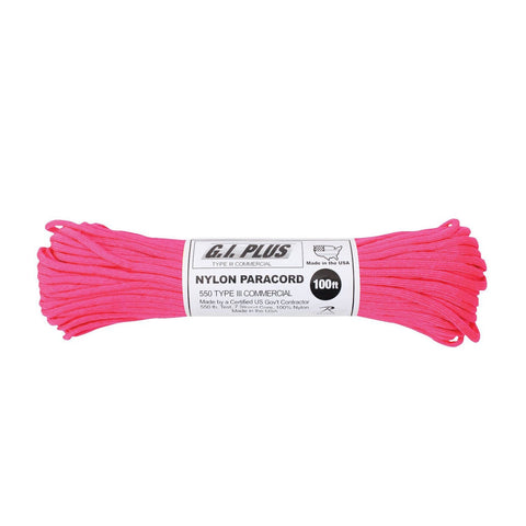 Nylon Paracord Type III 550 LB 100FT - Neon Pink