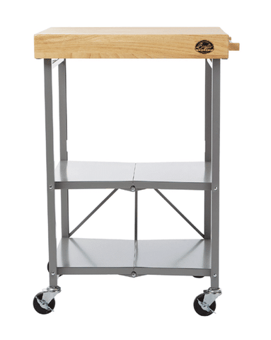 Bradley Smoker Foldable Kitchen Cart on Wheels, Wood top, Steel Grey Frame