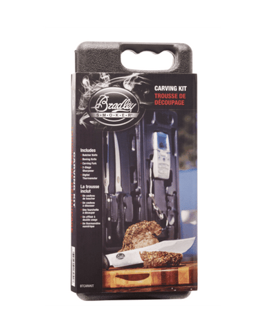 Bradley Smoking Tools, 5 pieces: butcher knife, boning knife, fork, sharpener and digital thermometer