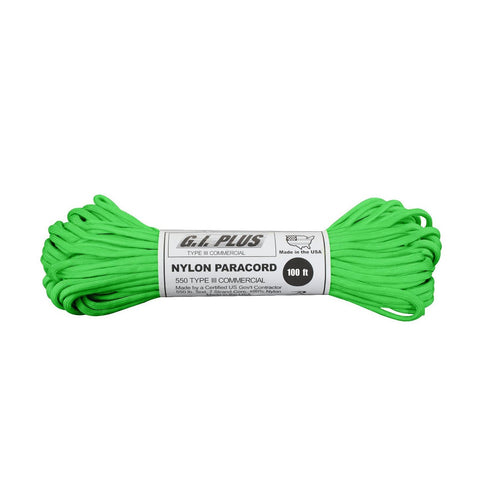 Nylon Paracord Type III 550 LB 100FT - Safety Green