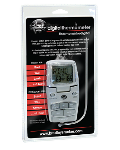 Bradley Smoker Digital Thermometer With Probe, Battery Powered With Magnets