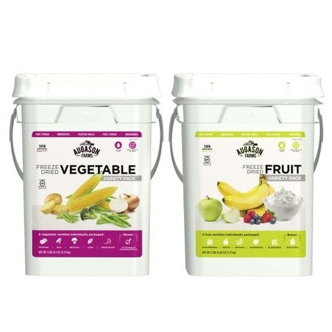 Augason Farms Freeze Dried Fruit & Vegetable Pail Combo
