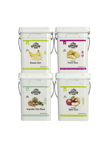 Augason Farms Fruit & Vegetable 4-Gallon Pail Bundle