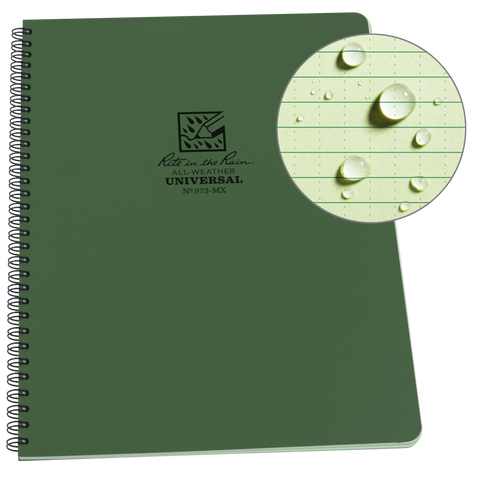 "Rite In The Rain Weatherproof Side Spiral Notebook, 8.5"" x 11"""