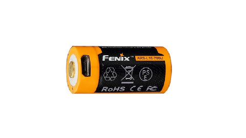 FENIX ARB-L16 700U 16340 LI-ION BUILD-IN USB CHARGING PORT RECHARGEABLE BATTERY