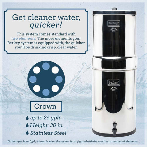 Crown Berkey Water Filter (6 gal) with 4 Filters