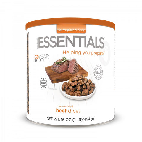 Freeze-Dried Beef Dices (Cooked) Large Can Pre Order - Emergency Essentials