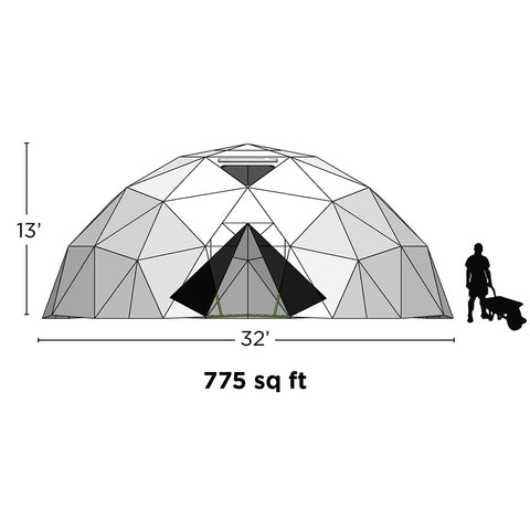 32' Geodesic Greenhouse (775sq.ft)