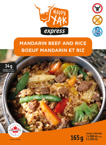 HAPPY YAK MANDARIN BEEF AND RICE