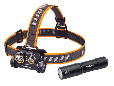 Fenix HM65R Rechargeable Headlamp + Fenix E01 V2.0 AAA Flashlight