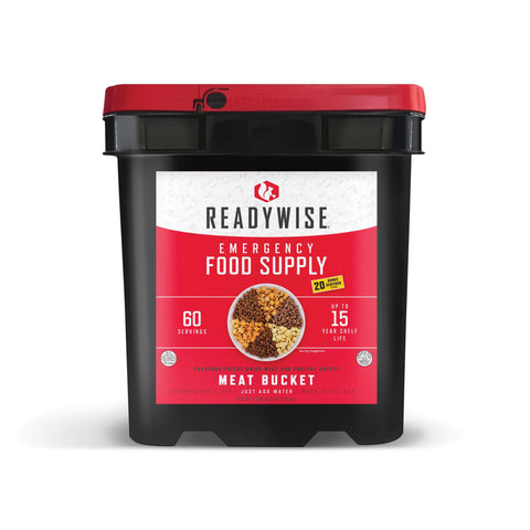 ReadyWise Freeze Dried Meat Bucket- 60 Servings + 20 Servings Of Rice