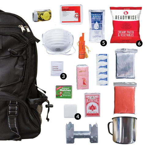 ReadyWise 64 Piece Survival Backpack- Black