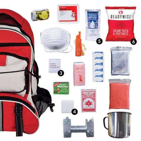 ReadyWise 64 Piece Survival Backpack- Red