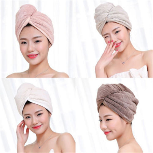 Turban Twist Dry Shower Microfiber Hair Wrap Towel Drying Bath Spa Head Cap HatR