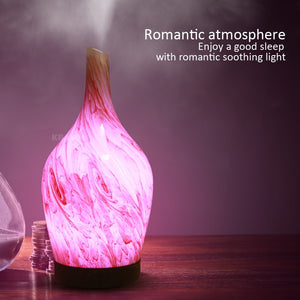 KBAYBO 100ml 3D Ceramic vase Marble Glass Air Humidifier Electric Diffuser Mist Maker with 7 colors Changing LED Light for Home