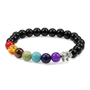 7 Chakra Bracelet Charm Natural Stone Men Women Lava Rock Wooden Elephant Buddha Beads Bracelets Yoga Meditation Jewelry Bangle