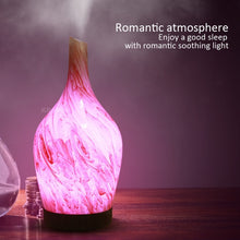 Load image into Gallery viewer, KBAYBO 100ml 3D Ceramic vase Marble Glass Air Humidifier Electric Diffuser Mist Maker with 7 colors Changing LED Light for Home