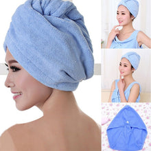 Load image into Gallery viewer, Hot Magic Microfibre Hair Drying Towel Wrap Quick Dry Turban Head Hat Bath Towel Cap Ladies Bath Spa Double Side Dry Hair Hats