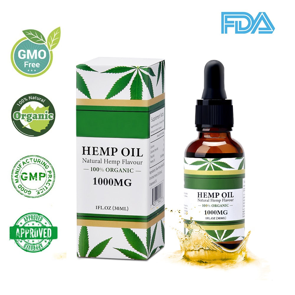 Natural Hemp Seed Oil 30ml Hemp Oil Organic Pure Essential Oil for Relieve Stress Body Skin Care Massage and Relax