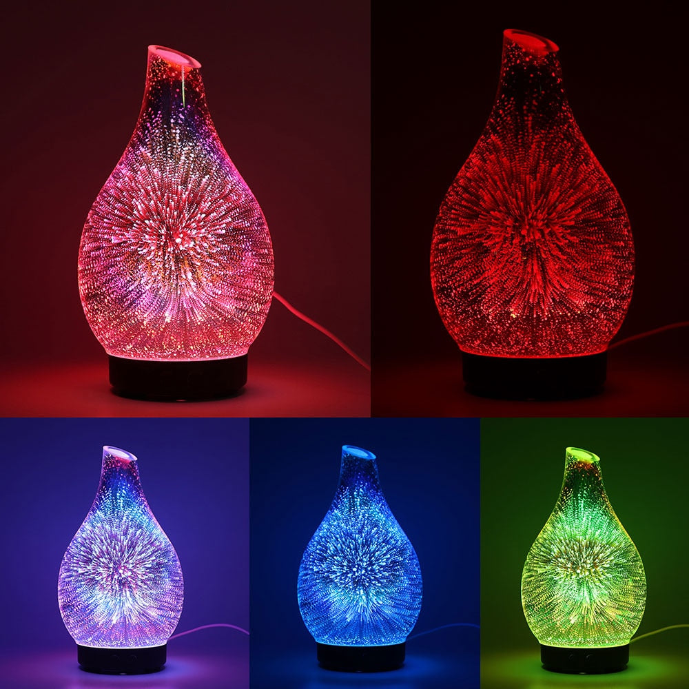 3D 100ml Glass Aromatherapy Humidifier Aroma Essential Oil Diffuser Ultrasonic Humidifier 7 color LED  Light for Home Office