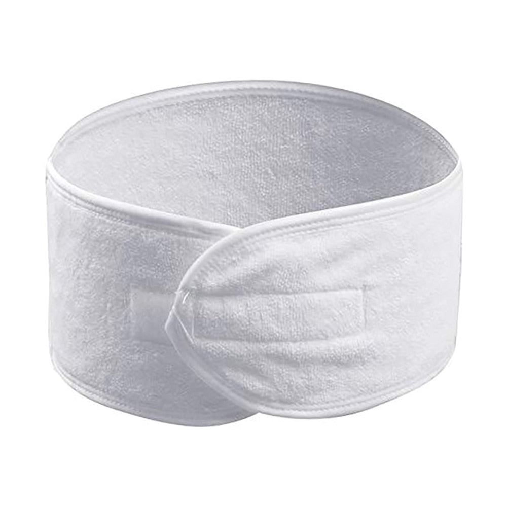 1Pc Travel  Portable Self-Adhesive Spa Women Headband Terry Cloth Head With White Elastic Headband Face Makeup Towel Hair Band