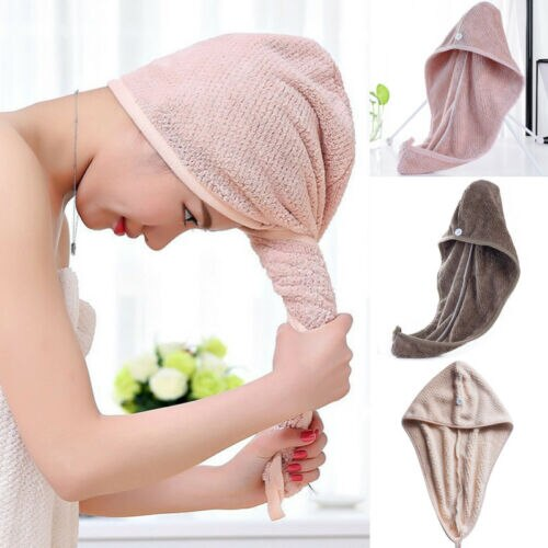 Twist Dry Shower Microfiber Hair Wrap Towel Drying Bath Spa Head Cap Hat Women