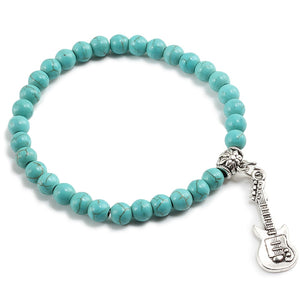 Natural Stone Beaded Bracelets Colorful Turquoises Sliver Guitar Chain Couple Strand Bangles Men Women Accessories Handmade Gift