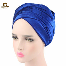 Load image into Gallery viewer, New Fashion Women Velvet Turban Headband Wrap Hijab Extra Long Velvet Tube Head Wrap Scarf Turbante