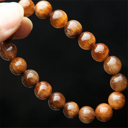 100% Genuine Brazilian Natural Copper Rutilated Quartz Crystal Bracelets For Women Femme 10mm Charm Stretch Round Beads Bracelet