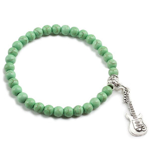 6mm Natural Stone Alloy Pendant Guitar Elastic Bracelets Women's Yoga Fashion Turquoises Beaded Bracelet Jewelry Accessories Men