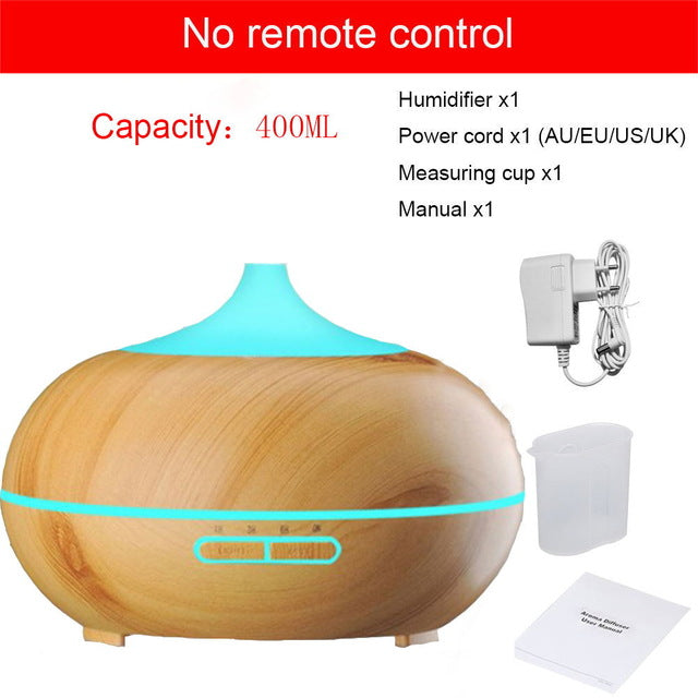 400 ml aroma diffuser oil air humidifier ultrasonic usb essential oil diffuser wood grain colorful LED light for home office
