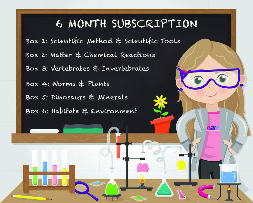 6-Month Pre-Paid Beakerz Science Subscription Box Set (Delivered Monthly)