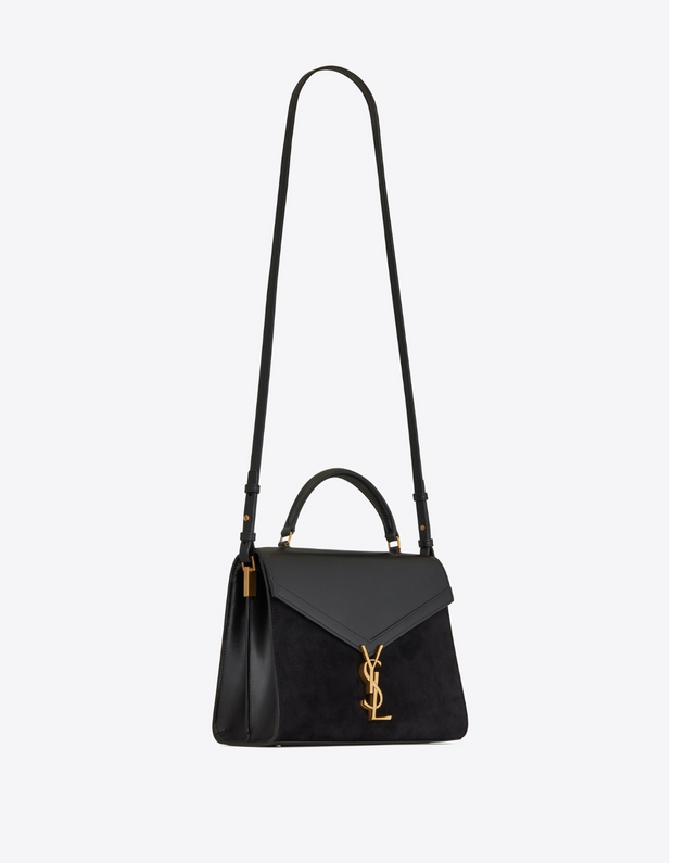 SAINT LAURENT / 생로랑 카산드라 미디엄 탑 핸들백 블랙 Cassandra medium top-handle bag in smooth leather and suede