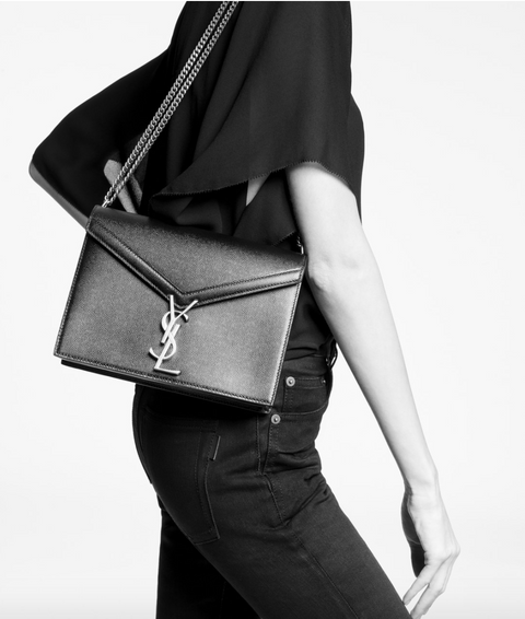 SAINT LAURENT / 생로랑 카산드라 모노그램 가죽 숄더백 블랙 Cassandra monogram clasp bag in grain de poudre embossed leather