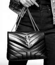 "SAINT LAURENT / 생로랑 스몰 루루 LOULOU 숄더백 챠콜 Loulou small in matelassé ""Y"" leather"