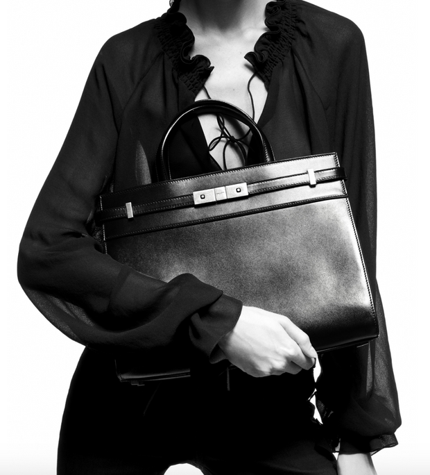 SAINT LAURENT / 생로랑 PATENT 레더 맨해튼 스몰 쇼퍼백 블랙 Manhattan small bag in rippled patent leather