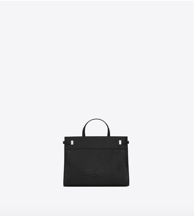 SAINT LAURENT / 생로랑 CROCODILE 레더 맨해튼 스몰 쇼퍼백 블랙 Manhattan small shopping in crocodile embossed shiny leather