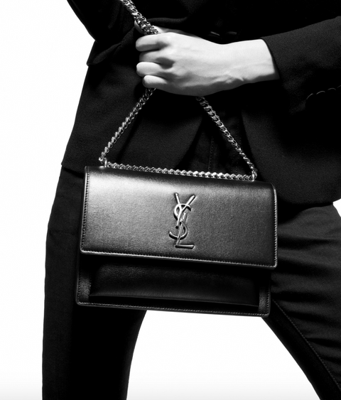 SAINT LAURENT / 생로랑 선셋 미디움 숄더백 챠콜 Sunset medium in smooth leather