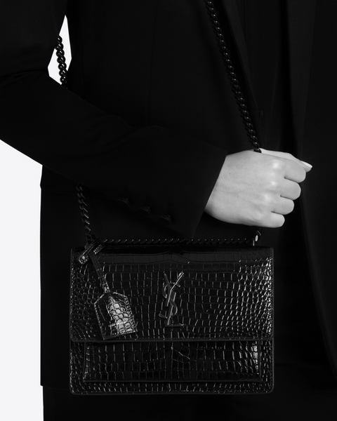 SAINT LAURENT / 생로랑 선셋 미디움 CROCODILE EMOSSED 숄더백 올블랙 Sunset medium in crocodile embossed shiny leather