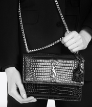 SAINT LAURENT / 생로랑 선셋 미디움 CROCODILE EMOSSED 숄더백 블랙 Sunset medium in crocodile embossed shiny leather