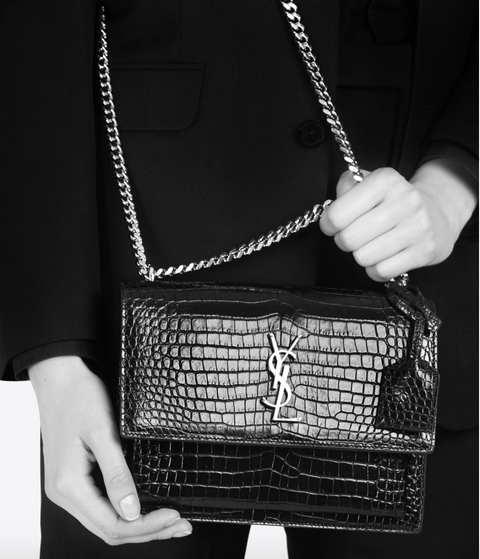 SAINT LAURENT / 생로랑 선셋 미디움 CROCODILE EMOSSED 숄더백 딥그린 Sunset medium bag in shiny crocodile-embossed leather