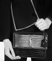 SAINT LAURENT / 생로랑 선셋 미디움 CROCODILE EMOSSED 숄더백 그레이 Sunset medium in crocodile embossed shiny leather