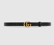 GUCCI / 구찌 더블 G 버클 여성 벨트 2cm 무광 Leather belt with Double G buckle